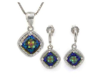2 2/5 Ct Ocean Mystic Topaz & Diamond Pendant Necklace and Earring Sterling Silver Set 925 Estate Jewelry Earrings