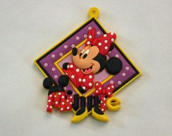 Disney Minnie Mouse Novelty Tag Key Ring PVC Rubber Die Cut Keychain Luggage Backpack Bag Tag Magnet Face Disneyland WDW Walt Disney World