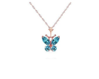 0.60 Ct Blue Topaz Butterfly Pendant on a 14Kt Solid Rose Gold Rope Chain Necklace Gemstone Estate Jewelry