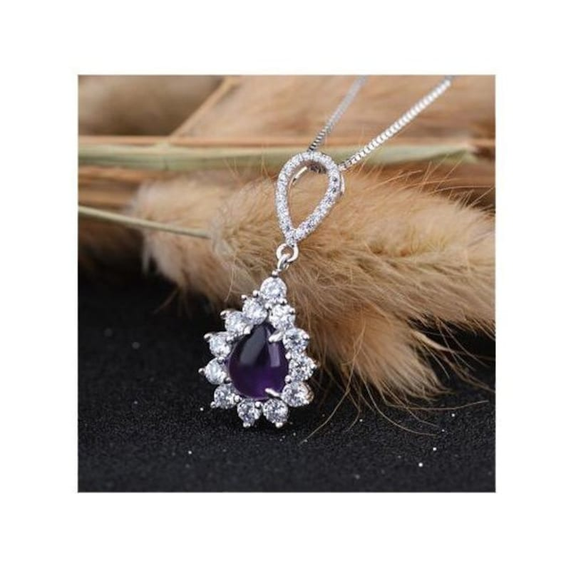 1.5 Ct Amethyst /& 1.5 Ct Cubic Zirconia CZ Sterling Silver Pendant on an 18 inch Sterling Silver Box Chain 925 Necklace \u2013 Estate Jewelry