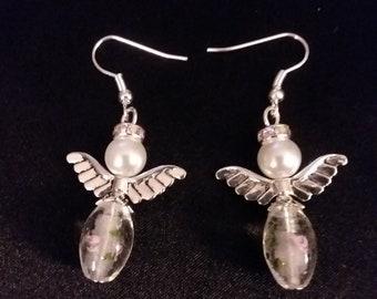 Set of White Glass Guardian Angel Earrings  Angel Charm Earring Drop Dangle Jewelry French Hook Style Ear Wires