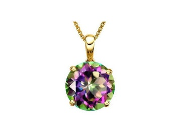 0.46 Carat Mystic Topaz Gemstone 14K Solid Yellow Gold Necklace Pendant Jewelry (Necklace Chain not Included)