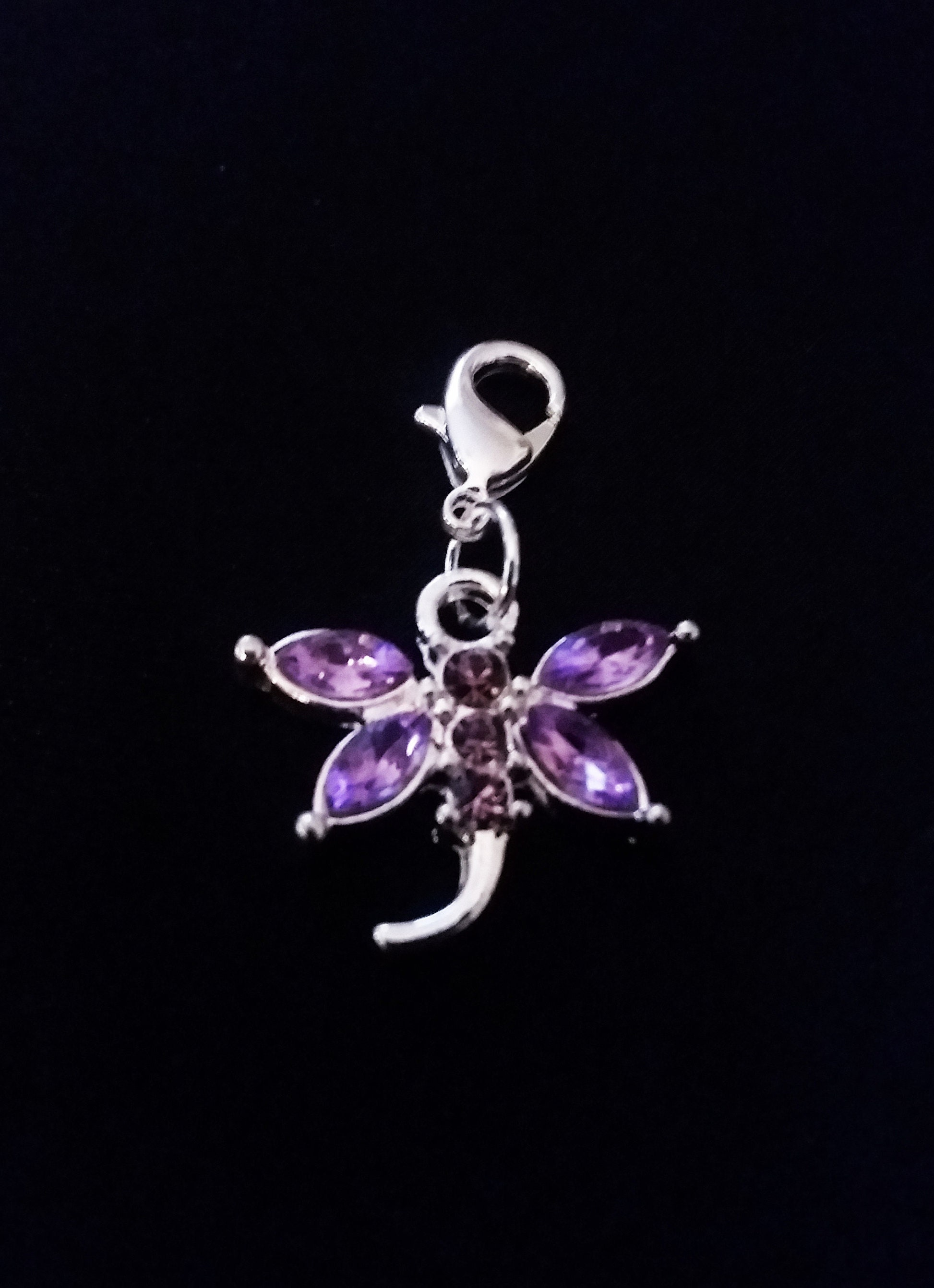 Antiqued Bracelet Pendant Zipper Pull Charm with Lobster Clasp Dragonfly