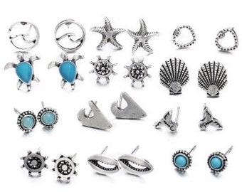 12 Earring Sets of Beach Ocean Themed Earrings in 18K Gold Plated German Silver Fashion Jewelry Turtle Star Fish