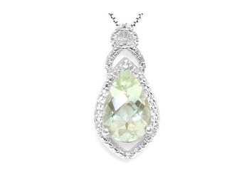 Gorgeous 3.02 Ct Green Amethyst and Diamond Teardrop Necklace Pendant 925 Sterling Silver Gemstone Estate Jewelry Gift Women Birthday