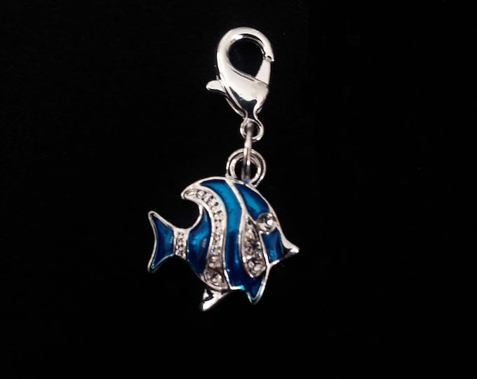 Silver & Blue Enamel Tropical Fish Charm Silver Plated Bracelet Charms Necklace Pendant Jewelry Charms Earrings Earring Zipper Pulls