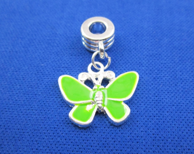 Green Enamel Butterfly Charm European Style Large Hole Dangle Beads Silver Plated Bracelet Beads Necklace Jewelry Bead Charms Craft Supplies