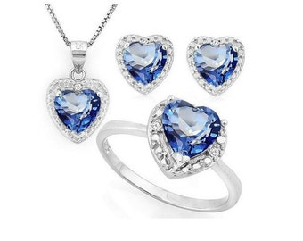 4 4/5 Ct Violet Mystic Topaz & Diamond Ring, Pendant Necklace and Earring Sterling Silver Set 925 Estate Jewelry Earrings
