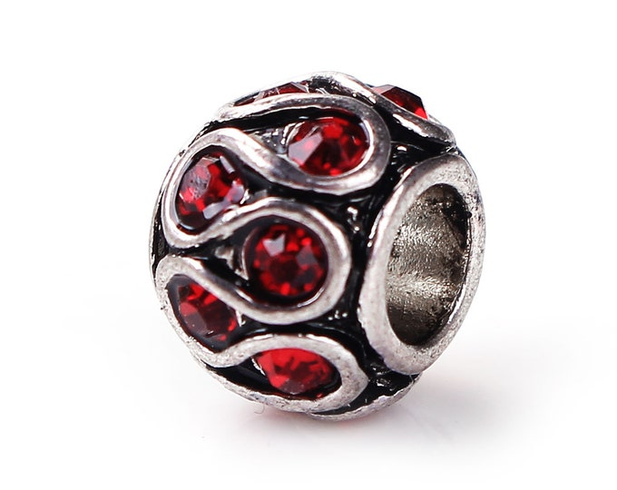 Red Rhinestone Barrel Bead Charm European Style Charm Beads Bracelet Antique Silver Large Hole Necklace Jewelry Charms