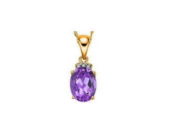 1 Carat Purple Amethyst and Diamond 10Kt Solid Yellow Gold Necklace Pendant Jewelry (Necklace Chain not Included)