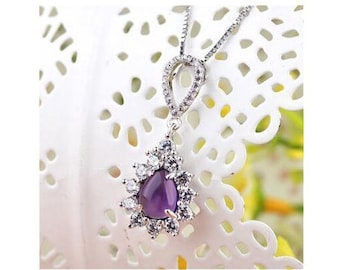 1 1/2 Ct Amethyst & 1 1/2 Ct Cubic Zirconia CZ Sterling Silver Pendant on an 18 inch Sterling Silver Box Chain 925 Necklace Estate Jewelry