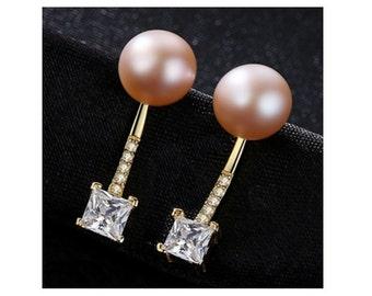 Freshwater Pearl & CZ Cubic Zirconia Earrings Sterling Silver - 925 Gemstone Estate Jewelry Drop - Dangle Earring Wedding Bride