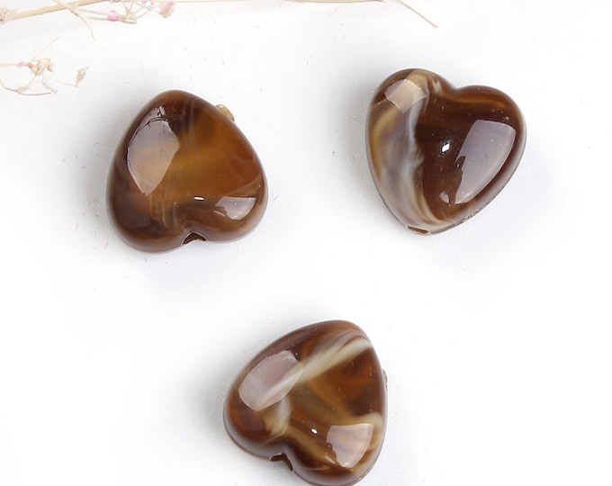 Bulk 10 Heart Acrylic Beads Brown / Coffee Marble Effect 14 mm Bracelet Bead Necklace Jewelry Charm Charms Craft Supplies