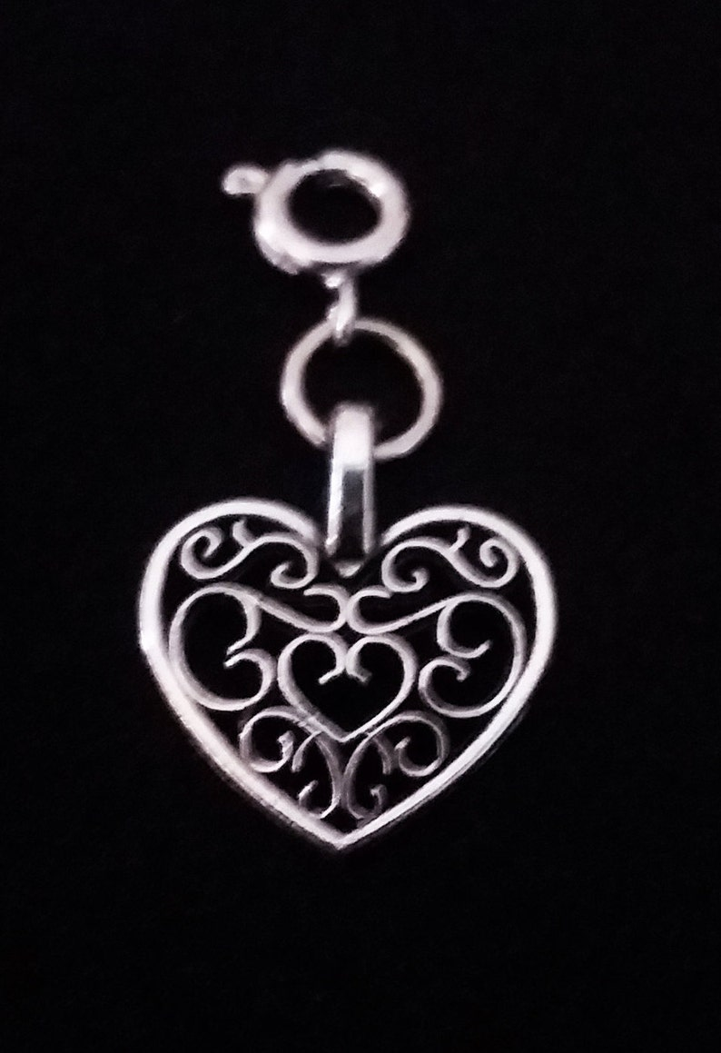 Silver Filigree Heart Charm Antique Silver 2 Sided Bracelet Charms Necklace Pendant Jewelry Supplies Charms Craft Projects Earrings Earring