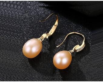 Freshwater Pink Pearl & CZ Cubic Zirconia Earrings Sterling Silver - 925 Gemstone Estate Jewelry Drop - Dangle Earring Wedding Bride