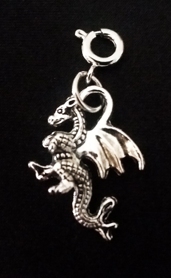 Dragon Pendant Antique Gold Tone Dragon Charm Medieval Fairy Tale 2 sided