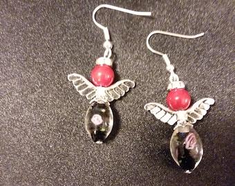 Set of Red & Black Guardian Angel Earrings  Angel Charm Earring Drop Dangle Jewelry French Hook Style Ear Wires Angels