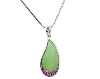 Chalcedony & Genuine Ruby 925 Sterling Silver Pendant on an 18 Inch 0.7 mm 925 Sterling Silver Box Chain Necklace - Genuine Rubies