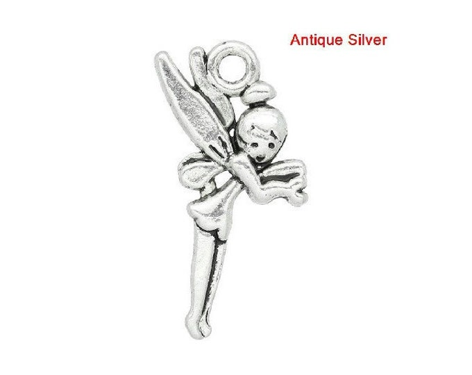 2 Fairy Charms Antique Silver Tone Angel Bracelet Charm Fairies Necklace Pendant Jewelry Supplies Charms Craft Projects Earrings Earring