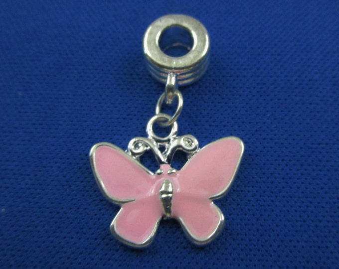 Pink Enamel Butterfly Charm European Style Large Hole Dangle Beads Silver Plated Bracelet Necklace Jewelry Bead Charms Craft Supplies