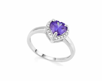 1 Ct Lab Tanzanite and Diamond Silver Ring 925 Egyptian Blue Statement Cocktail Ring Estate Jewelry Size 7 US