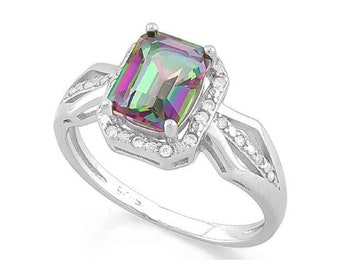 1.77 Ct Mystic Topaz Gemstone and Cubic Zircon CZ Sterling Silver Halo Ring 925 – Cocktail Ring – Statement Ring - Estate Jewelry Size 7