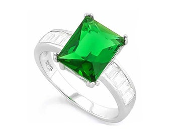 4 2/5 Ct Created Emerald & Created Diamonds Sterling Silver Ring 925 Cocktail Ring Statement Ring Estate Jewelry Size 7