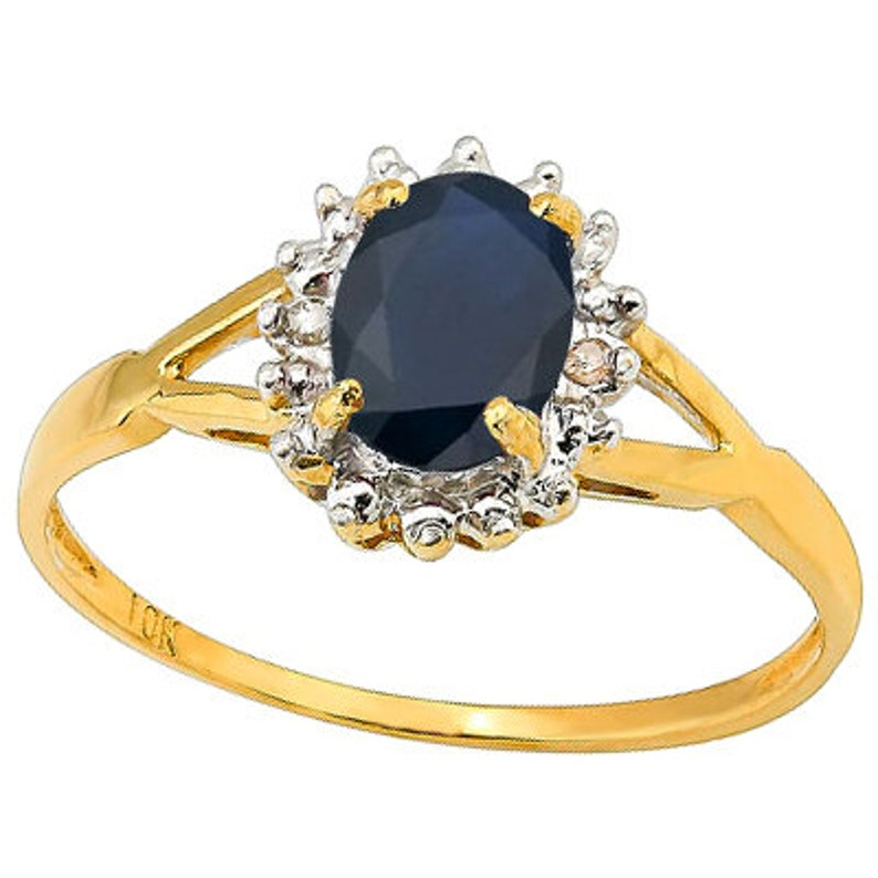 45 Ct Diffusion Sapphire and Diamond 10 Kt Solid Yellow Gold Ring Estate Jewelry Statement Cocktail Engagement Band Ring Size 7