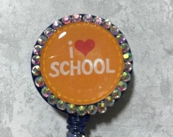 Teacher/ Student I Love School- Retractable Badge Holder- Badge Reel- Yebbie Anne Crafts