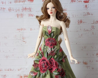 BJD SID DRESS Embroidered Long Female green gown Unique Outfit Clothes Doll Clothing