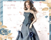 1 3 BJD DENIM DRESS, Lace Corset, Long Blue Skirt, Outfit Clothes Doll Clothing SiD EiD YiD