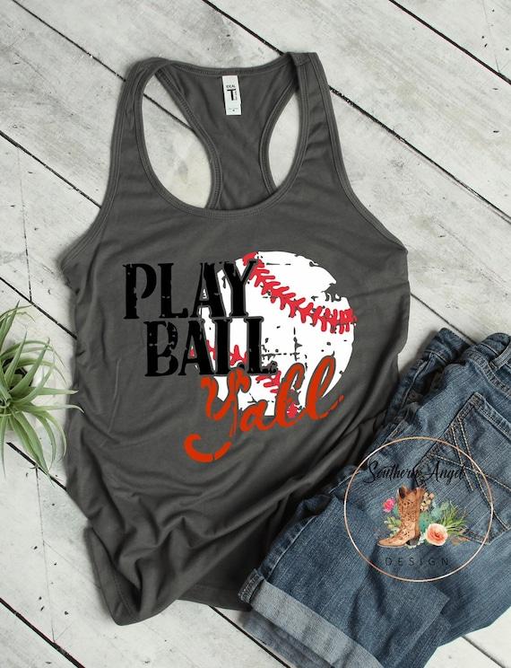 d50219aa56a1 Play Ball Y'all Women's tank top womens baseball | Etsy