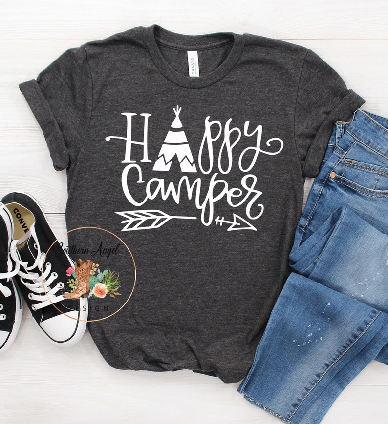 7116c492 Women's Camping shirt Happy Camper shirt Camping trip | Etsy