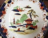 Vintage Cabinet Plate Handpainted China Blue Cobalt Plate Porcelain Kitchen Decor
