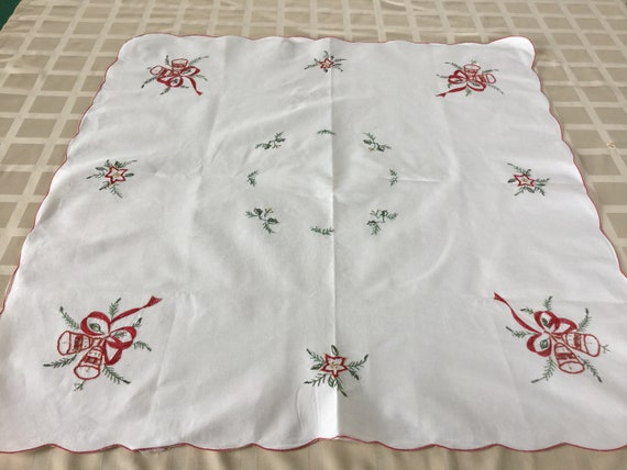image 0 image 1 image 2 image 3 image 4 image 5 image 6 Vintage Embroidered Tablecloth Christmas Doily Red Green Gold Machine Embroidery Advent Topper Germany Xmas Decor