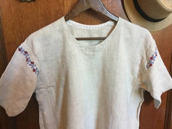 Antique 30s Embroidered Dress Peasant Shirtdress U
