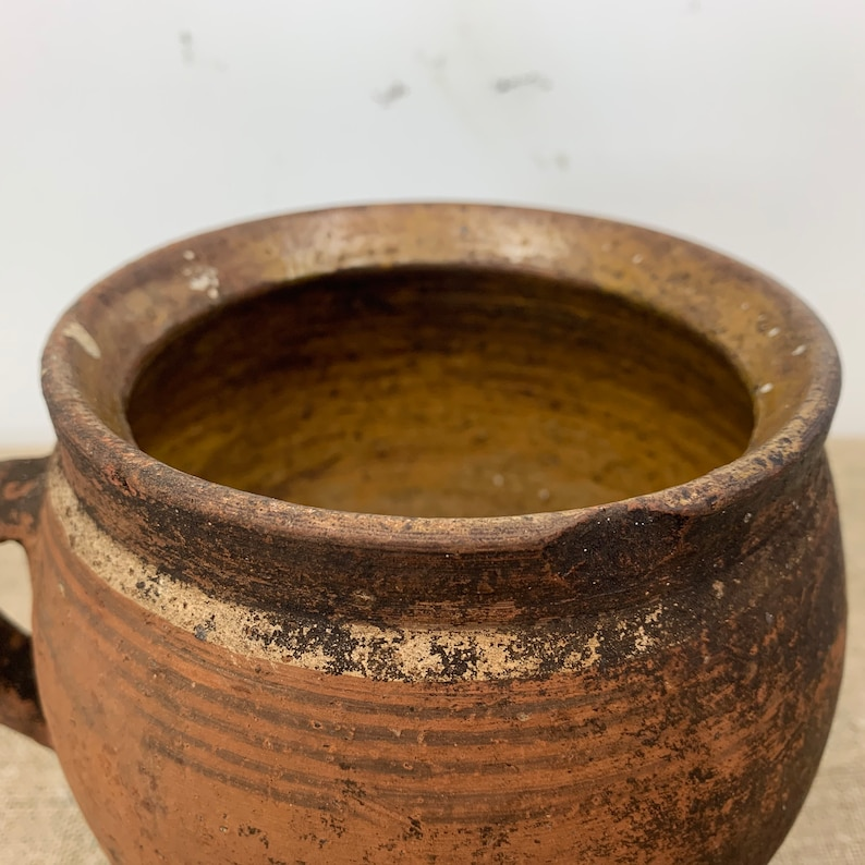 Old Clay Pot Ukrainian Pottery Ceramic Vase Plant Vessel Rustic Farmhouse Decor