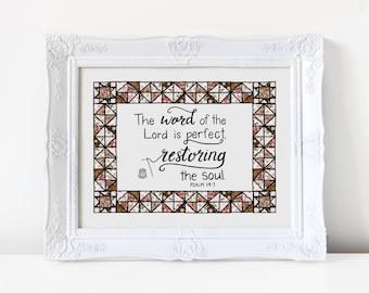Quilt, Restoring, Hand lettered printable, Scripture wall art, 8X10, Christian wall decor, Psalm 19:7- digital