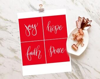 Christmas Scripture Cards, Christmas Gifts for Her, Christmas Wall Decor, Printable Wall Art, Holiday Decor, Joy, Hope, Faith, Peace
