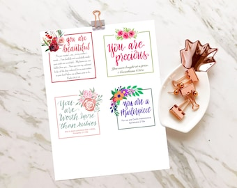 Christmas Gifts, Small Cards with Bible Verse, 1 Corinthians 620, Ephesians 210, Psalm 13913, Proverbs 3110, Gift for Her, Scripture Cards