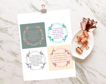 Scripture Memory Cards on Taming the Tongue, Colossians 3, Proverbs 15, Ephesians 4, Proverbs 12, Christmas Gifts, Bible Verse Cards