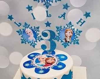 Personalised Frozen Cake Topper Party Decor Table Birthday Snowflake