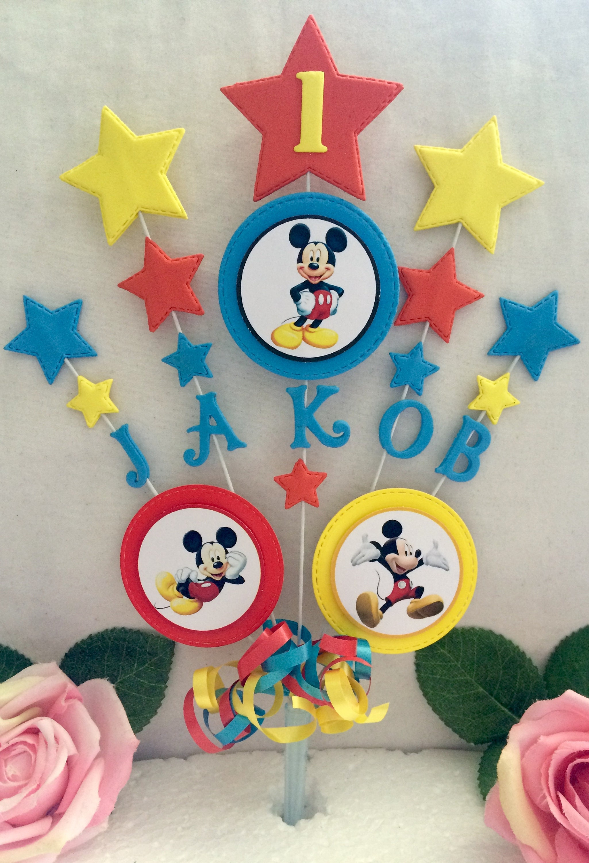 Personalised Mickey Mouse Topper Mickey Mouse Party Decor Etsy