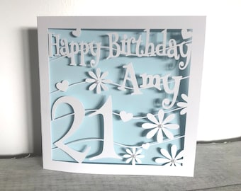 Personalised 21st Birthday Card Cutout Papercut 18th Daughter Name Gift