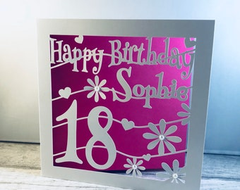 Personalised 18th Birthday Card Cutout Papercut Daughter Friend Name Gift
