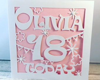Personalised 18th Birthday Card 21st Daughter Neice Sister Friend Name Gift Girl