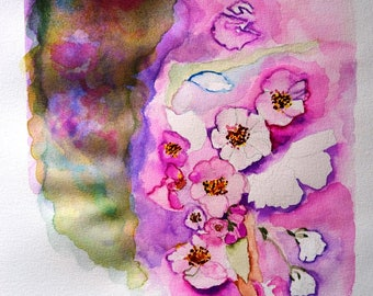 Original Watercolor Painting, Flowers, Picture Handmade, Painting