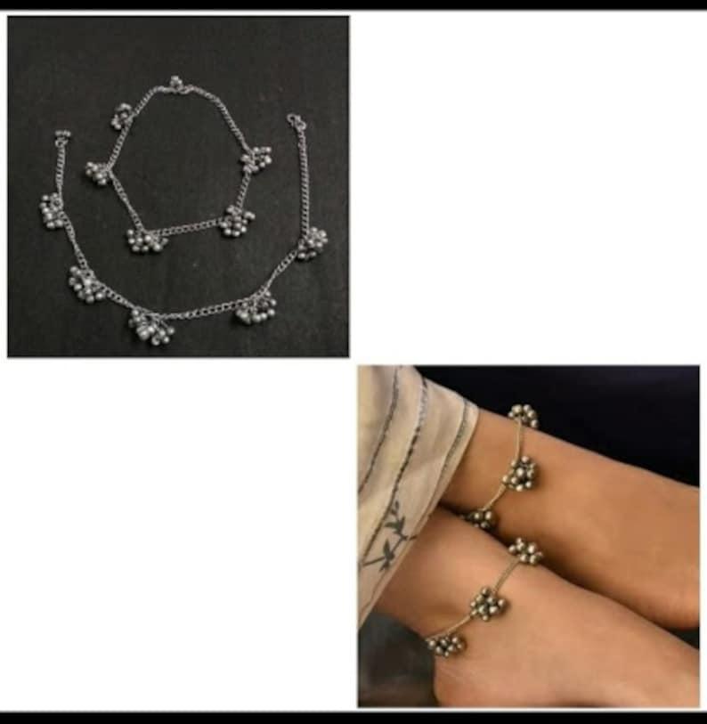 Bollywood Oxidized payal set Navrattan Oxidized Anklet Afghani Set German Silver Set Indian Bridal Indian Jewelry