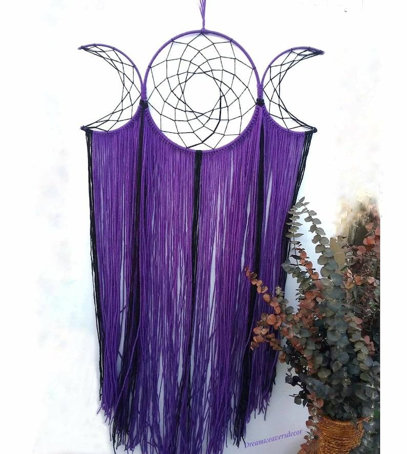 Triple Moon Goddess Dreamcatchers Wicca Dream Catcher Large Crescent Moon Pagan Decor Moon Goth Purple Wall Decor