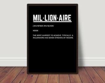 Entrepreneur Print, Hustle Poster, Motivational Wall Decor, Printable Quotes, Work Motivation, Inspirational Quotes, Hustle Wall Art